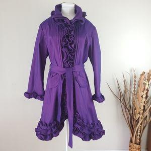 Samuel Dong purple coat with ruffles